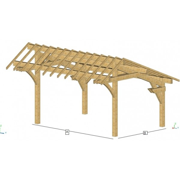Carport simple en kit solide monter soi m me en bois - Carport bois pas cher ...